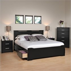 4 Piece Queen Bedroom Set in Black