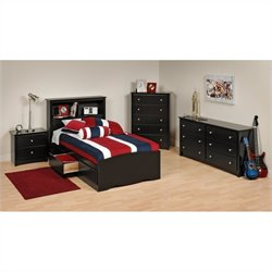4-Piece Twin Youth Bedroom Set in Black