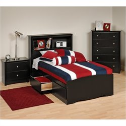 3-Piece Twin Youth Bedroom Set in Black