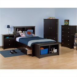 5-Piece Twin Youth Bedroom Set in Black