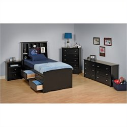 4-Piece Twin Youth Tall Bedroom Set in Black