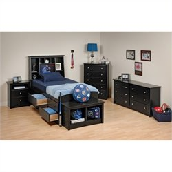 5-Piece Twin Youth Tall Bedroom Set in Black