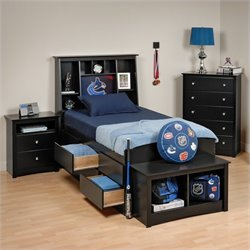 4-Piece Twin Youth Tall Bedroom Set with Bench in Black