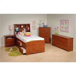 4-Piece Tall Twin Youth Bedroom Set in Cherry