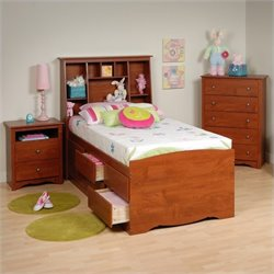 3-Piece Tall Twin Youth Bedroom Set in Cherry