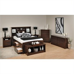 6-Piece Tall Full Double Bedroom Set in Espresso