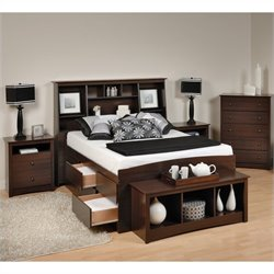 5-Piece Tall Full Bedroom Set with Bench in Espresso