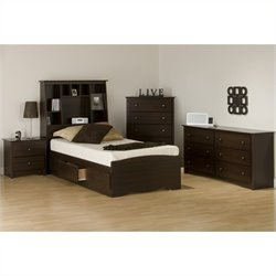 4-Piece Tall Twin Bedroom Set in Espresso