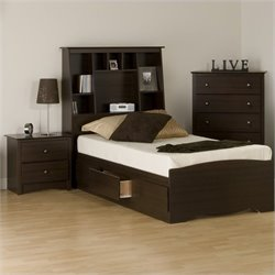 3-Piece Tall Twin Bedroom Set in Espresso