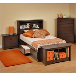 4-Piece Twin Youth Bedroom Set in Espresso