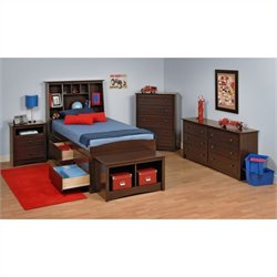 5-Piece Tall Twin Youth Bedroom Set in Espresso