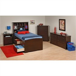 4-Piece Tall Twin Youth Bedroom Set in Espresso