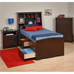 3-Piece Tall Twin Youth Bedroom Set in Espresso