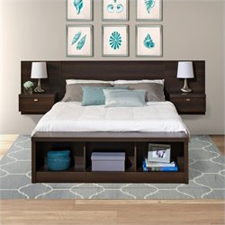 Platform Storage Bed with Floating Headboard in Espresso