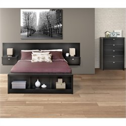 3-Piece Bedroom Set with Chest in Black