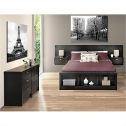3-Piece Bedroom Set with Dresser in Black