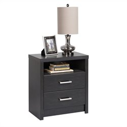 Tall 2-Drawer Nightstand in Black Laminate