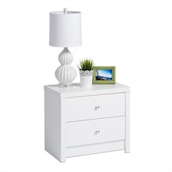 Prepac Calla 2-Drawer Nightstand in White Laminate