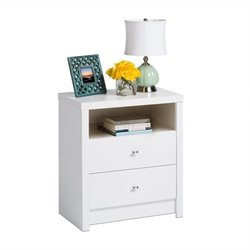 Tall 2-Drawer Nightstand in White Laminate