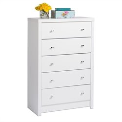 5-Drawer Chest in White Laminate