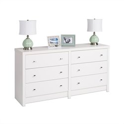Prepac Calla 6-Drawer Dresser in White Laminate