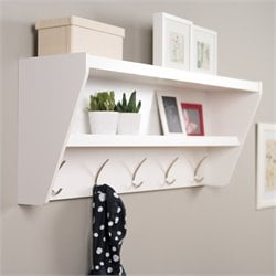 Floating Entryway Shelf and Coat Rack in White