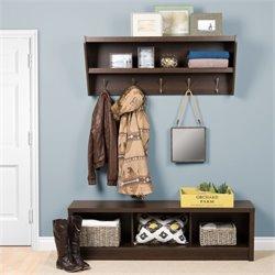 Floating Entryway Shelf with Bench in Espresso