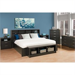 7 Piece Platform Bedroom Set in Washed Black