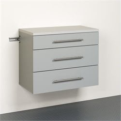 3-Drawer Base Storage Cabinet in Light Grey Laminate