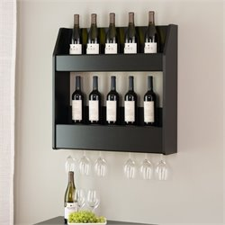 24 Bottle Wall Mount Wine Rack in Black