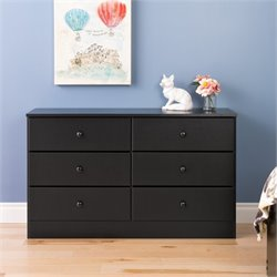 6 Drawer Double Dresser in Black
