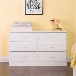 6 Drawer Double Dresser in White