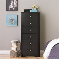 6 Drawer Lingerie Chest in Black Finish