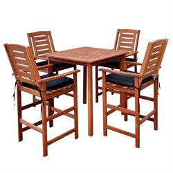 5 Piece Hardwood Patio Pub Set in Cinnamon Brown