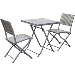 3 Piece Folding Patio Bistro Set in Bleached Gray