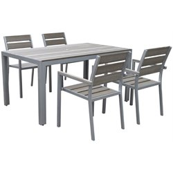 5 Piece Patio Dining Set in Sun Bleached Gray