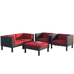 5 Piece Patio Sofa Set in Black Weave and Red