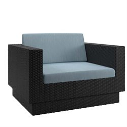 CorLiving Park Terrace Patio Arm Chair in Black Weave and Teal
