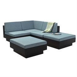 CorLiving Park Terrace 5 Piece Patio Sectional Set in Black and Teal