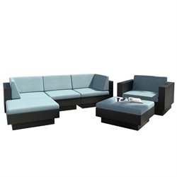 CorLiving Park Terrace 6 Piece Patio Sectional Set in Black and Teal