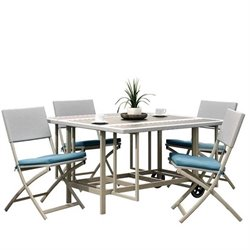5 Piece Folding Patio Dining Set in Taupe and Teal