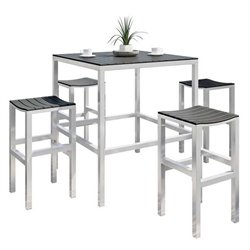 5 Piece Patio Pub Set in Aluminum and Black