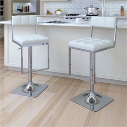 Adjustable Faux Leather Tufted Bar Stool in White (Set of 2)