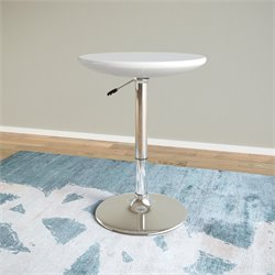 Adjustable Round Pub Table in Glossy White