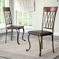 Leather Side Chair in Dark Brown (Set of 2)