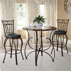 3 Piece Counter Height Bistro Set in Glossy Brown