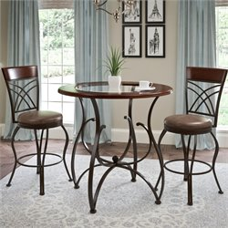 3 Piece Counter Height Bistro Set in Rustic Brown