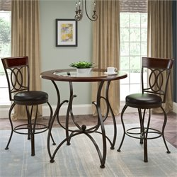 3 Piece Counter Height Bistro Set in Matte Brown