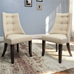 Tufted Dining Side Chair in Cream (Set of 2)