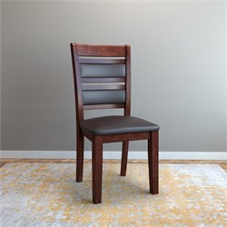 Leather Side Chair in Chocolate Brown (Set of 2)